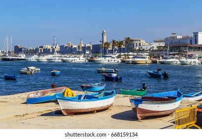 BARI, ITALY, JUNE 4, 2017: View of a nice fishing harbor in Mola di Bari, Puglia region, Italy