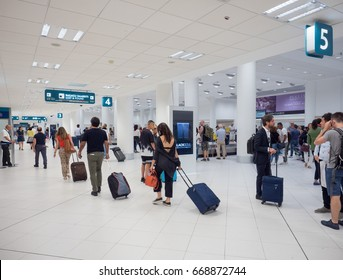 Bari, Italy - June 6, 2017: Interior of Karol Wojtyla Airport. Bari Airport is located some 8 kilometers or approximately 5 miles northwest of the town center of Bari City.