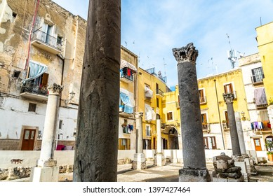 Bari, Italy - March 10, 2019: Ruins of Santa Maria del Buon Consiglio, there are only the remains of the large columns of this old church, among a decadent neighborhood.
