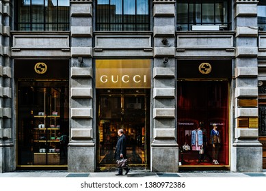 7bab1c58b897 Bari, Italy - March 12, 2019: Gentleman in front of a Gucci shop