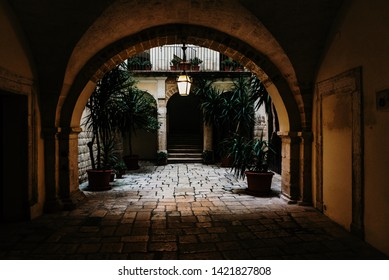 Bari, Italy - March 12, 2019: Interior atrium of a typical dwelling in Italian renancentist style.