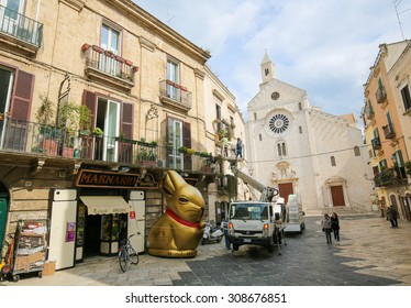 BARI, ITALY - MARCH 16, 2015: View on the center of Bari, Italy, with Bari Cathedral