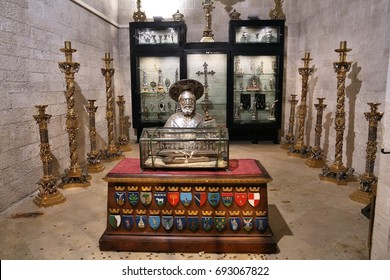 BARI, ITALY - MAY 28, 2017: Chapel of the Relics in Basilica of Saint Nicholas in Bari. The church is famous for its collection of holy relics, including pieces of Holy Cross.