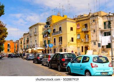 BARI, ITALY- MAY 9, 2016: Architecture of the Old Town of Bari, Italy. Bari is the capital Apulia region, on the Adriatic Sea