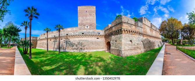 Bari, Italy, Puglia: Street view of the Swabian castle or Castello Svevo, a medieval landmark of Apulia.