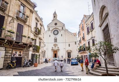 BARI, ITALY - SEPTEMBER 10, 2017: Duomo di Bari or Bari Cathedral with the street view