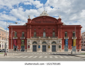 BARI, ITALY - September 10, 2019: Facade of Teatro Petruzzelli Opera and Ballet Theater. The Petruzzelli Theatre is the largest theater in the city of Bari and one of the major opera houses of Italy.
