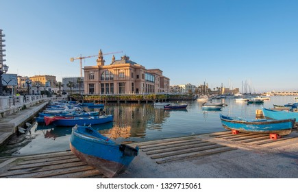 Bari, Puglia, Italy - 23 February, 2019: Sea view of Teatro Margherita theater in downtown of Bari, the capital city of the Metropolitan City of Bari and of the Apulia region, harbor and boats