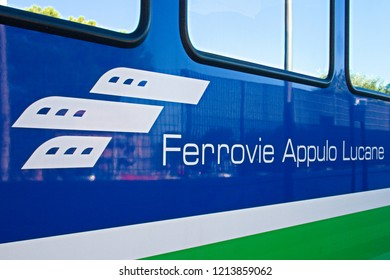 Bari, Puglia / Italy - October 27 2018: FAL, Ferrovie Appulo Lucane, Italian railway network, trains connecting Bari, Puglia to Matera, Basilicata, via Altamura and Gravina and the park of Murgia