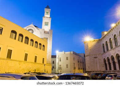 BARI PUGLIA ITALY ON JULY 2018:  Cathedral of Bari by twilight on July, 14, 2018 Old town of Bari in Puglia Italy