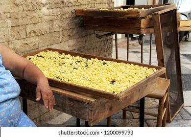 Bari , puglia ,  Italy south october 11,2018 - orecchiette pugliesi - typical italian handmade pasta