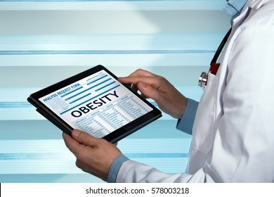 bariatrist consulting medical record on tablet with text Obesity in the diagnostic / Endocrine with a Obesity diagnosis of patient in digital medical report