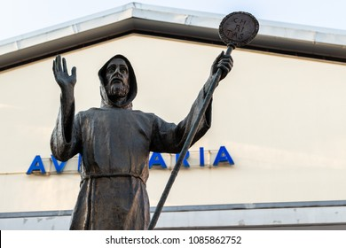 Bari/Italy - 04 22 2018: Statue of Saint Francis on the background of the church of the same name in Bari, city in the southern Italy.