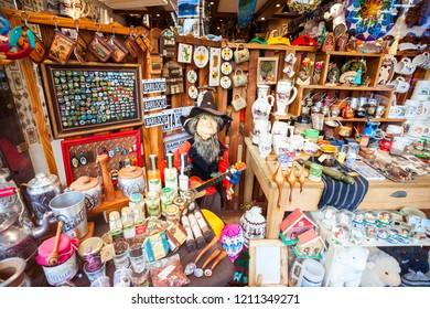 BARILOCHE, ARGENTINA - APRIL 27, 2016: Souvenir store showcase in Bariloche, Patagonia region in Argentina.