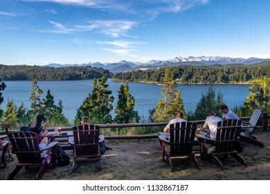 Bariloche, Argentina - Feb 14, 2018: Patagonia Brewery and Moreno Lake view at Circuito Chico - Bariloche, Patagonia, Argentina