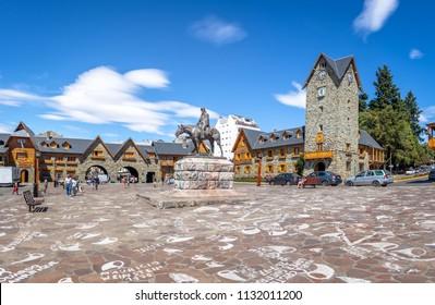 Bariloche, Argentina - Feb 15, 2018: Civic Center (Centro Civico) and main square in downtown Bariloche - Bariloche, Patagonia, Argentina