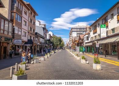 Bariloche, Argentina - Feb 15, 2018: Mitre Street in downtown Bariloche - Bariloche, Patagonia, Argentina