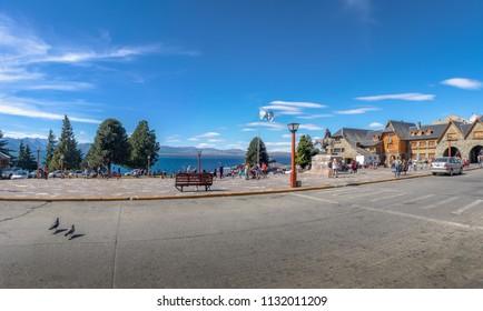 Bariloche, Argentina - Feb 15, 2018: Bariloche main square near Civic Center (Centro Civico) - Bariloche, Patagonia, Argentina