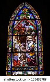 BARILOCHE, ARGENTINA - MARCH 10, 2014 - Stained glass window inside catholic church, Nahuel Huapi Cathedral