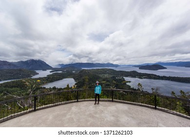 BARILOCHE, RIO NEGRO, ARGENTINA - DECEMBER 10 2018: a woman in Cerro Campanario, Bariloche, Patagonia Argentina