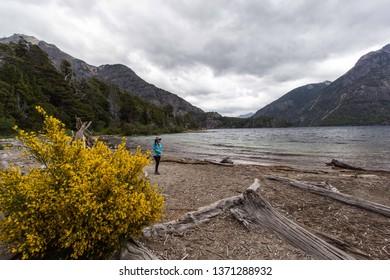 BARILOCHE, RIO NEGRO, ARGENTINA - DECEMBER 9 2018: Los Troncos beach in Lla Llao city park, Bariloche, Patagonia Argentina
