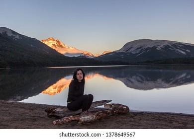 BARILOCHE, RIO NEGRO, ARGENTINA - FEBRUARY 5 2019: Ilon lagoon near Pampa Linda in Bariloche, Patagonia Argentina