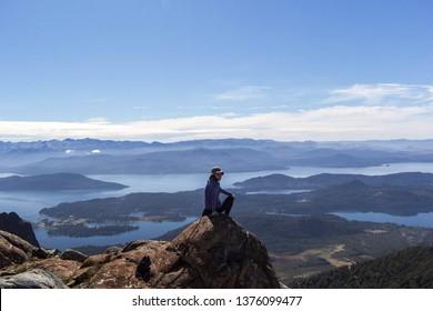 BARILOCHE, RIO NEGRO, ARGENTINA - MARCH 24 2019: Landscape view from Lopez hill near Bariloche, Patagonia Argentina