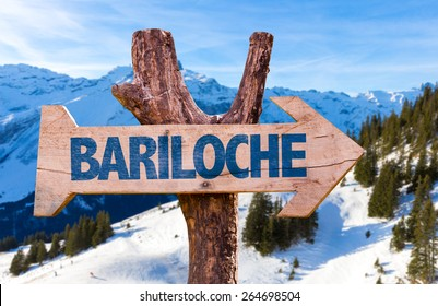 Bariloche wooden sign with alps background