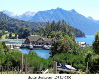Bariloche/Argentina - February 10, 2017: view of the harbour pier in the middle of nature.