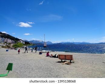 Bariloche/Argentina - February 9, 2017: view of a pebble beach on Lake Nahuel Huapi.