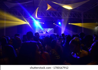 Barinas, Barinas. Venezuela. 15-07-2017. Party night in club, lights and silhouettes people dancing