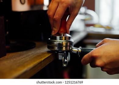 Barista Cafe Making Coffee on coffee machine