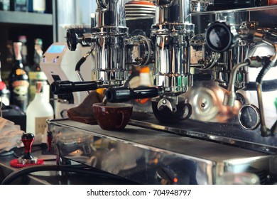 Barista Cafe Making Coffee Preparation on bar , Service Concept
