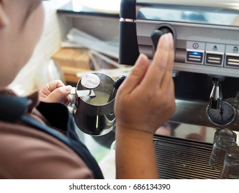 Barista checks steaming (foaming or frothing) milk in pitcher, reaches proper temperature degrees Fahrenheit  for making coffee latte art.