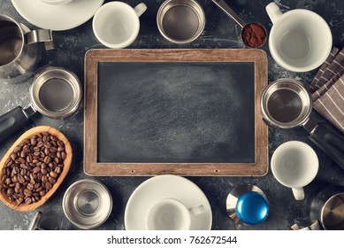 Barista equipment on a gray background