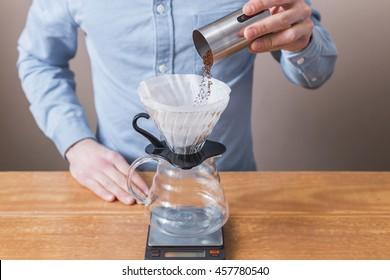 Barista pre-ground coffee in the filter purover V60