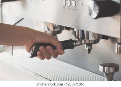 barista prepare coffee Grinder Pour machine and tool background. Barista cafe making coffee preparation service concept.
