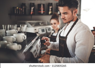 Barista team at work, coffee shop business concept
