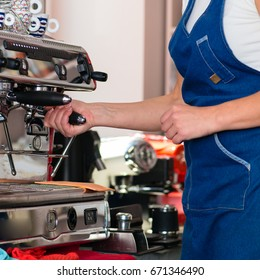 barista workplace, coffee machine making coffee. Preparation and service concept