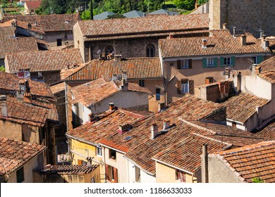 Barjols Provence France aerial view medieval village french Provence travel destination typical french village in Provence France Sprache für Stichwörter: English