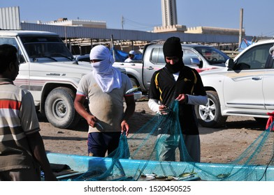 Barka, Oman - January, 03, 2014: view of omani people in the daily fish market