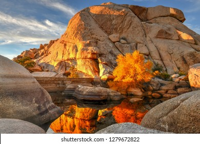 Barker Dam in Joshua Tree National Park in the evening at sunset.