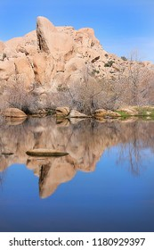 Barker damn reflecting the granite formation in Joshua Tree national park