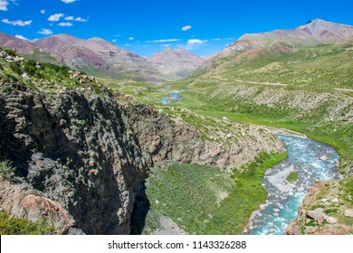 The Barkha river mountain valley during the ritual kora (yatra) around sacred Mount Kailash. Ngari scenery in West Tibet. Sacred place for Buddha pupils. Place of prayer, calm and meditation.