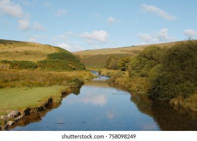 The Barle river on Exmoor (UK), at Landacre bridge. - Shutterstock ID 758098249