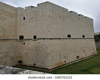 Barletta, Puglia, Italy - May 18, 2019: Bastione Annunziata of the Castello Svevo from the bridge over the moat