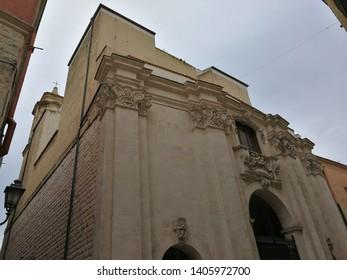 Barletta, Puglia, Italy - May 18, 2019: Facade of the Church of the Purgatory from Corso Garibaldi