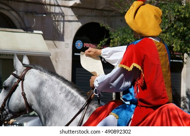 Barletta, southern Italy, Sept 17-2016: commemoration of the Challenge of Barletta, herald on horseback through the historic center