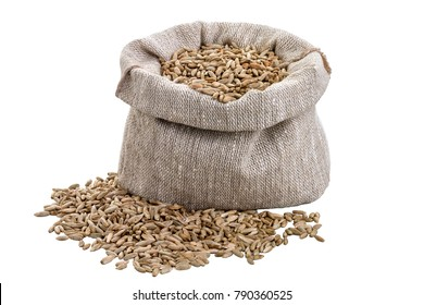 Barley in a bag isolated, rye grain in bag, oats in a bag on white background.  Barley isolated