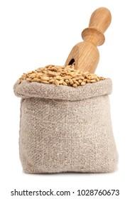 barley in bag on white background